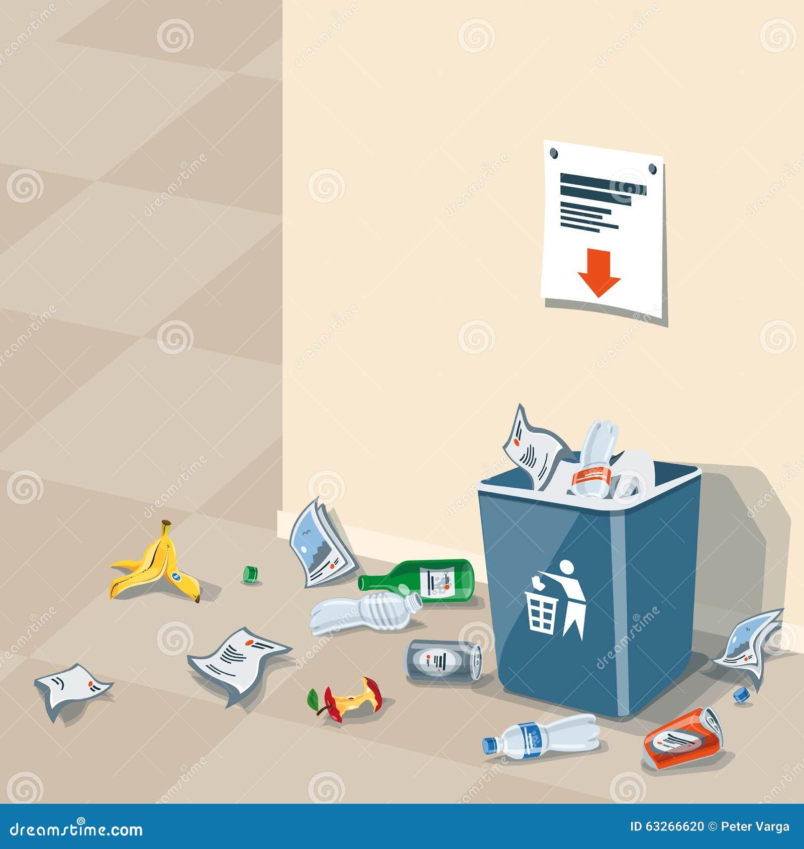 No Garbage On Floor : Littering garbage around the trash bin stock vector