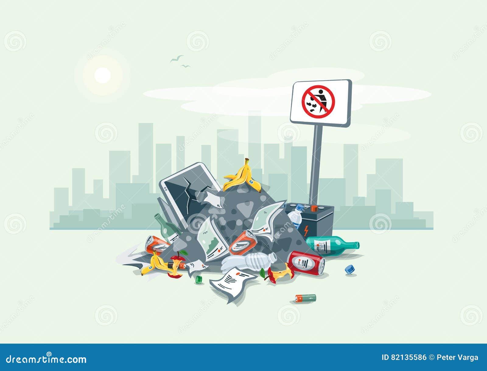 Littering garbage trash stack on the street road stock vector illustration of junk dump 82135586 - Rd wastebasket ...