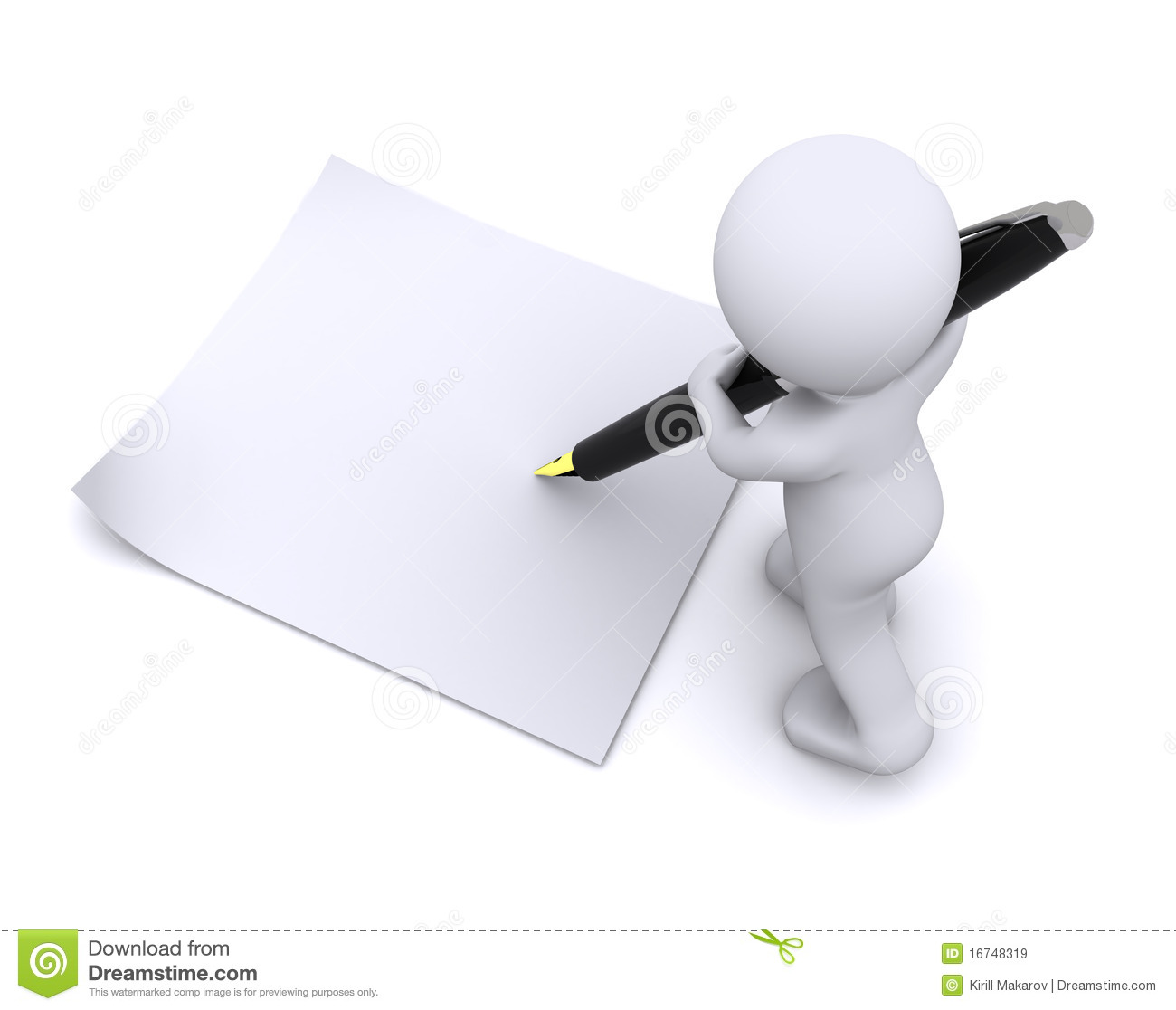 Little 3d Character Write A Card With Big Pen Royalty Free
