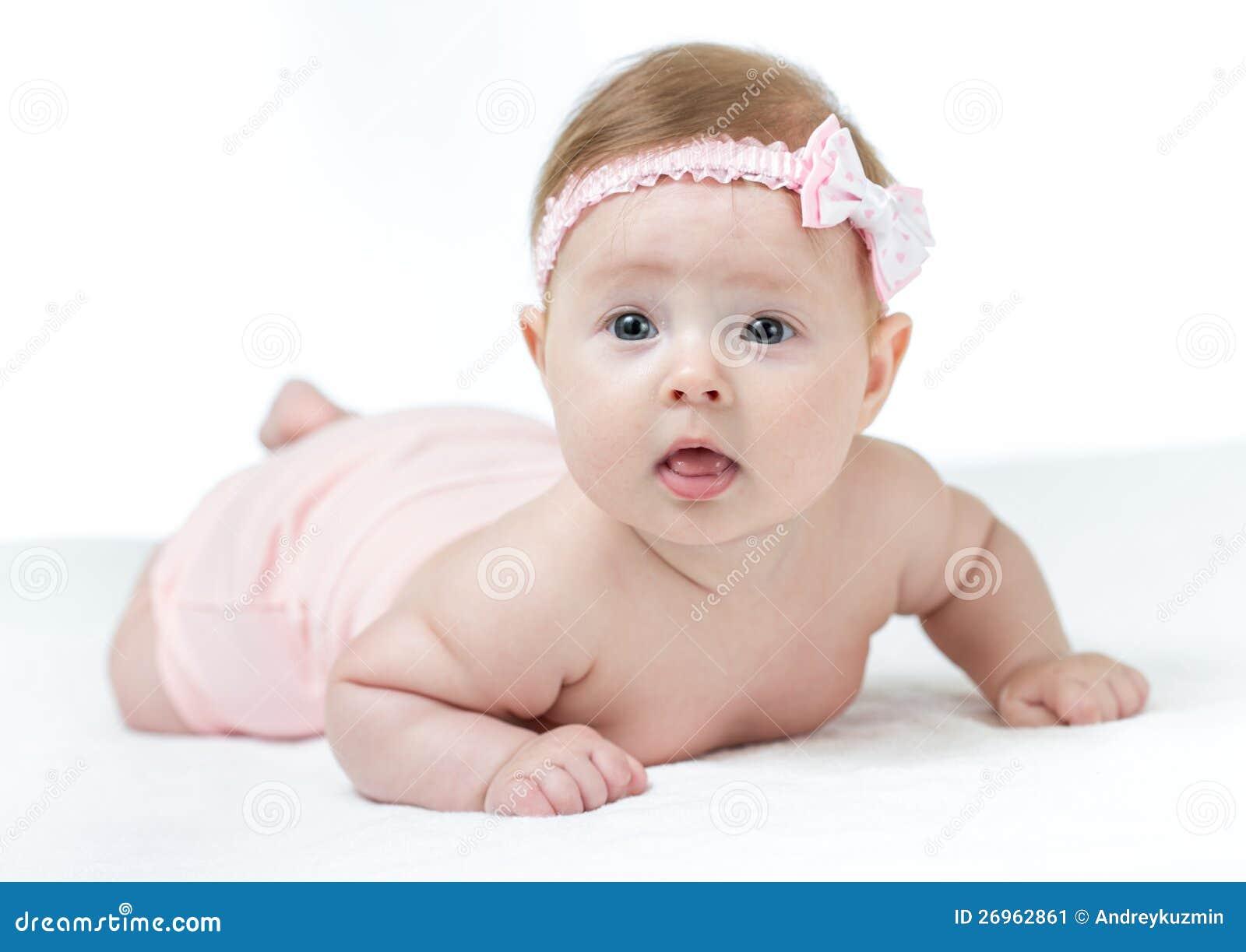Little 4 Months Baby Girl Lying Stock Image Image 26962861