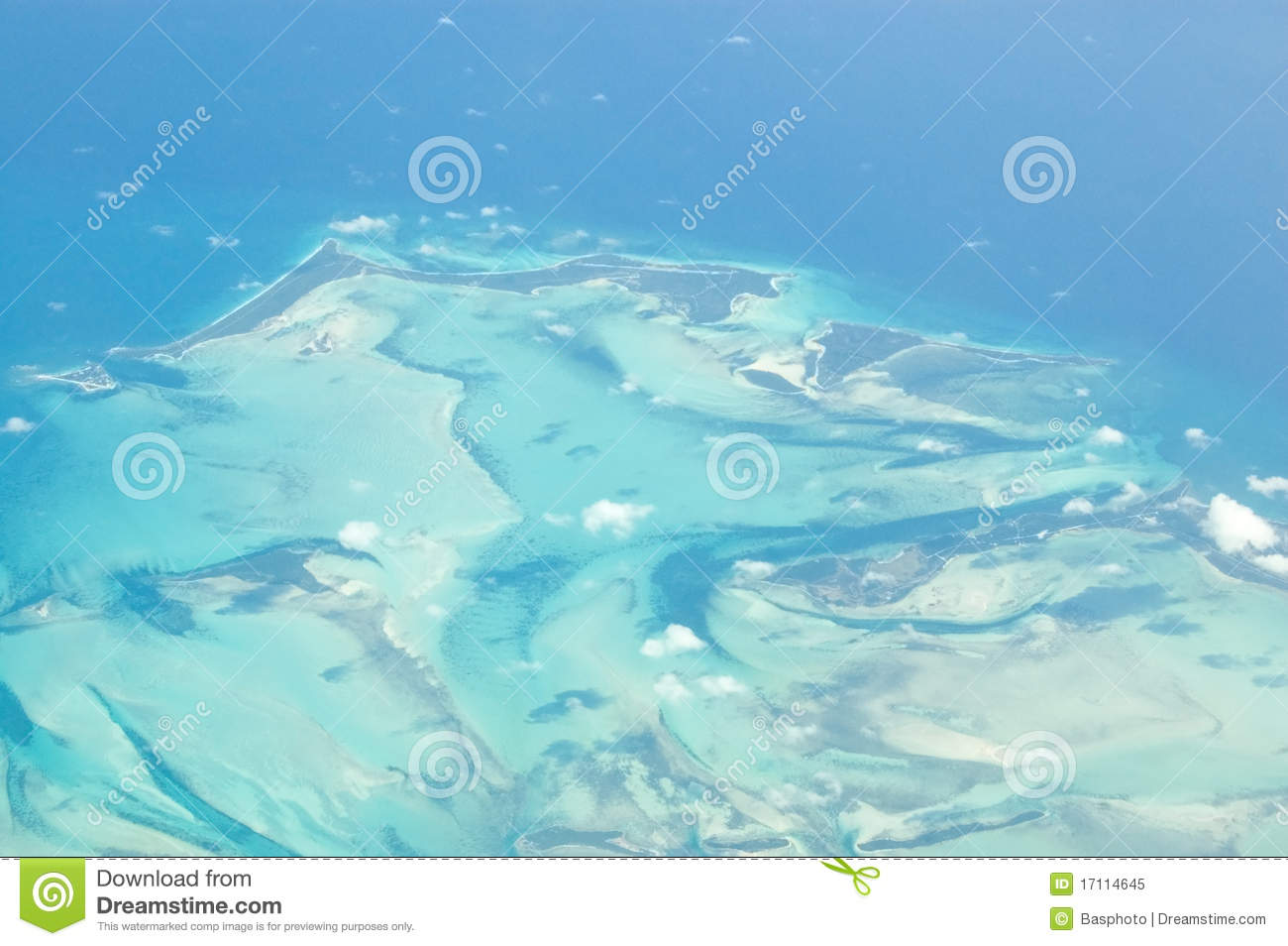 View from an airplane of the Carribean Islands of Little Abaco, part ...