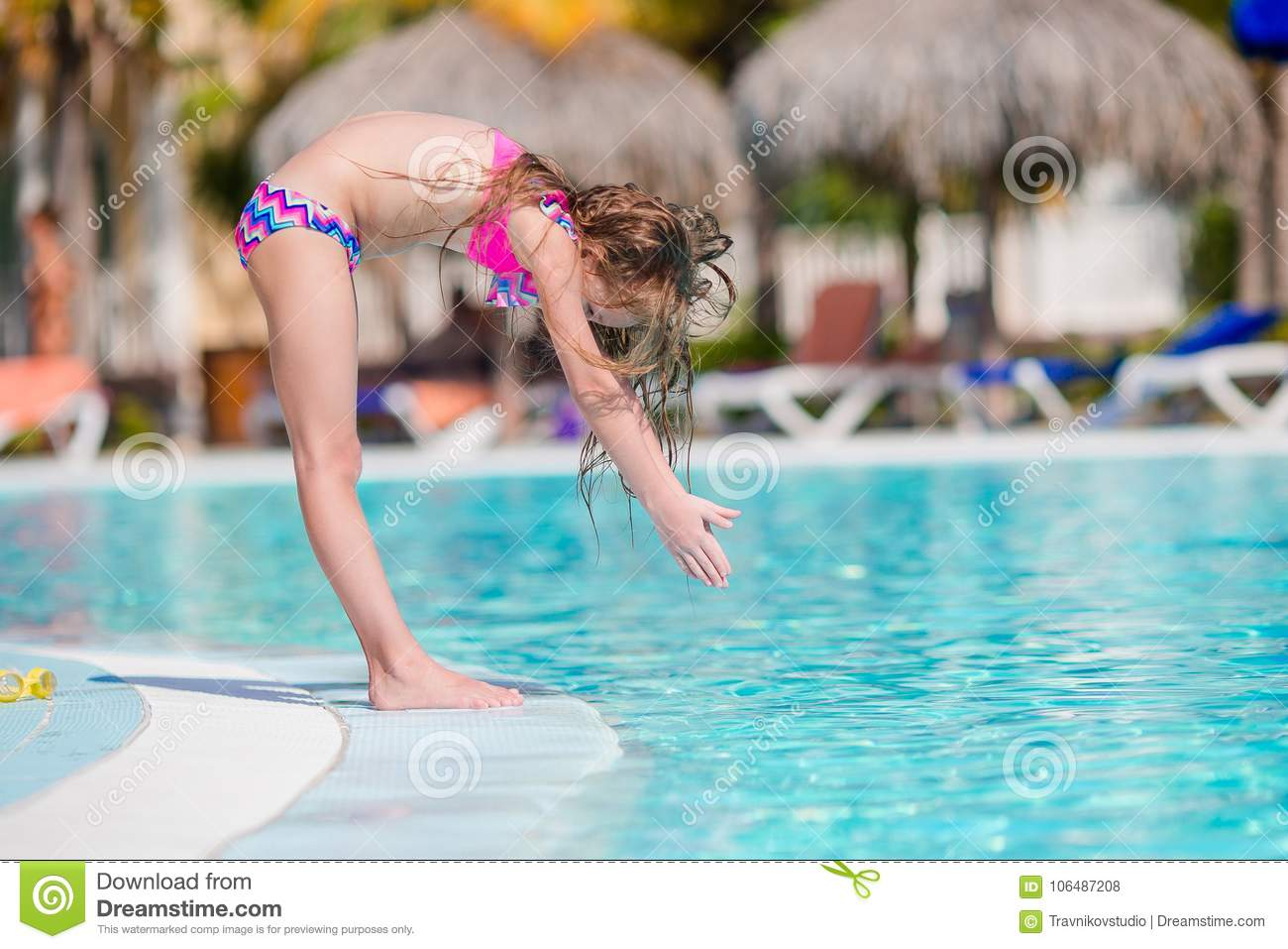 Little Active Adorable Girl In Outdoor Swimming Pool Ready To Swim ... a4d3267406