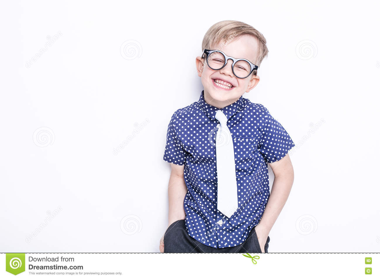 1c6c1d81f10 Portrait of a little boy in a funny glasses and tie. School. Preschool.  Fashion. Studio portrait isolated over white background
