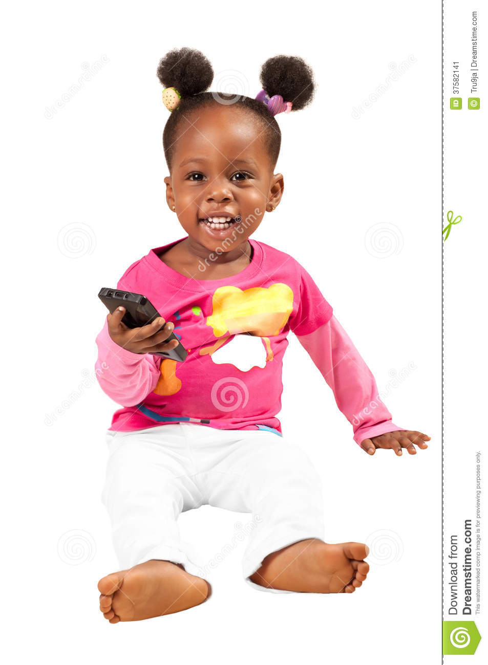 Little african american girl with mobile phone
