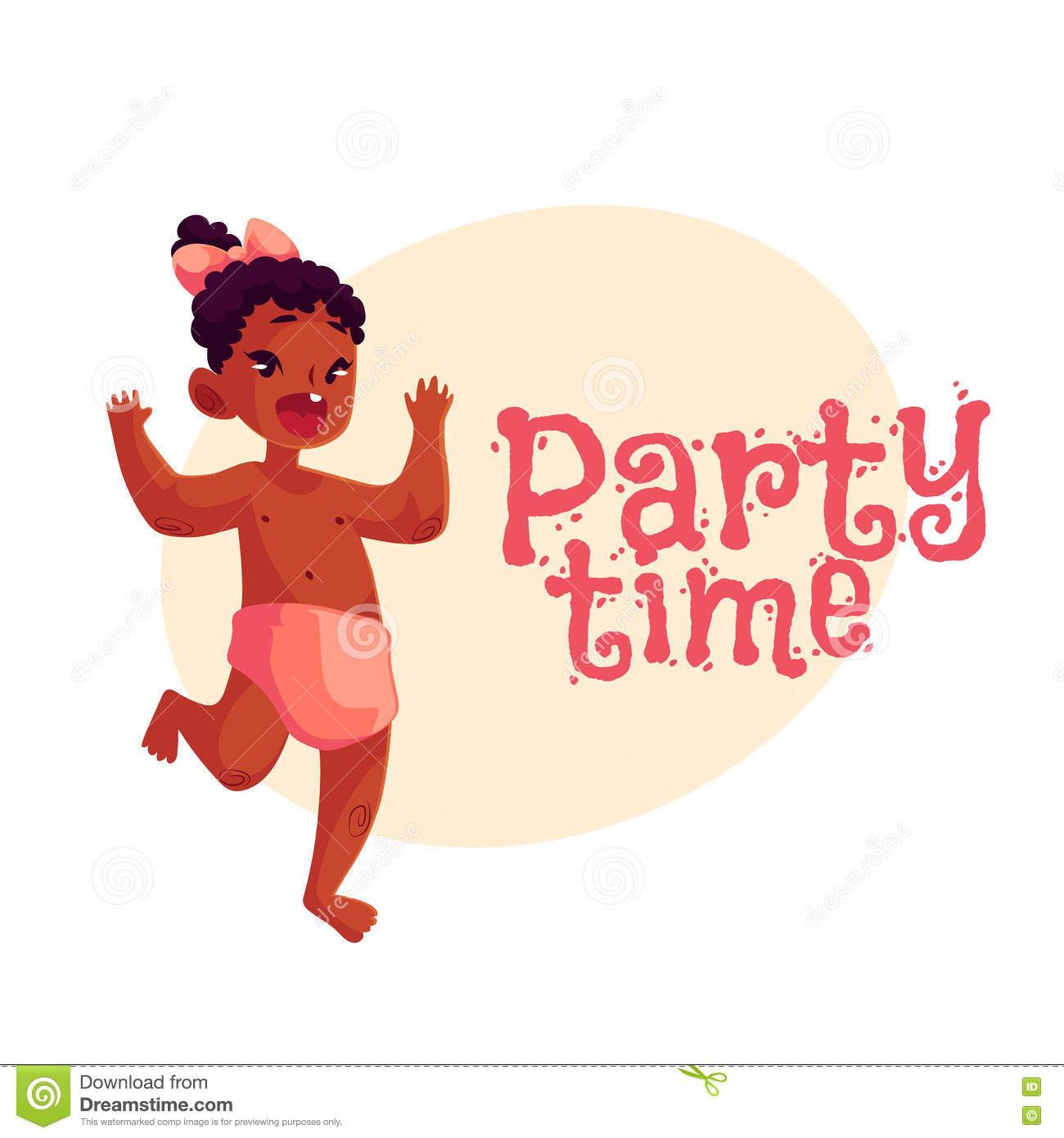 Little African Baby Girl Dancing Happily, Party Invitation, Poster ...