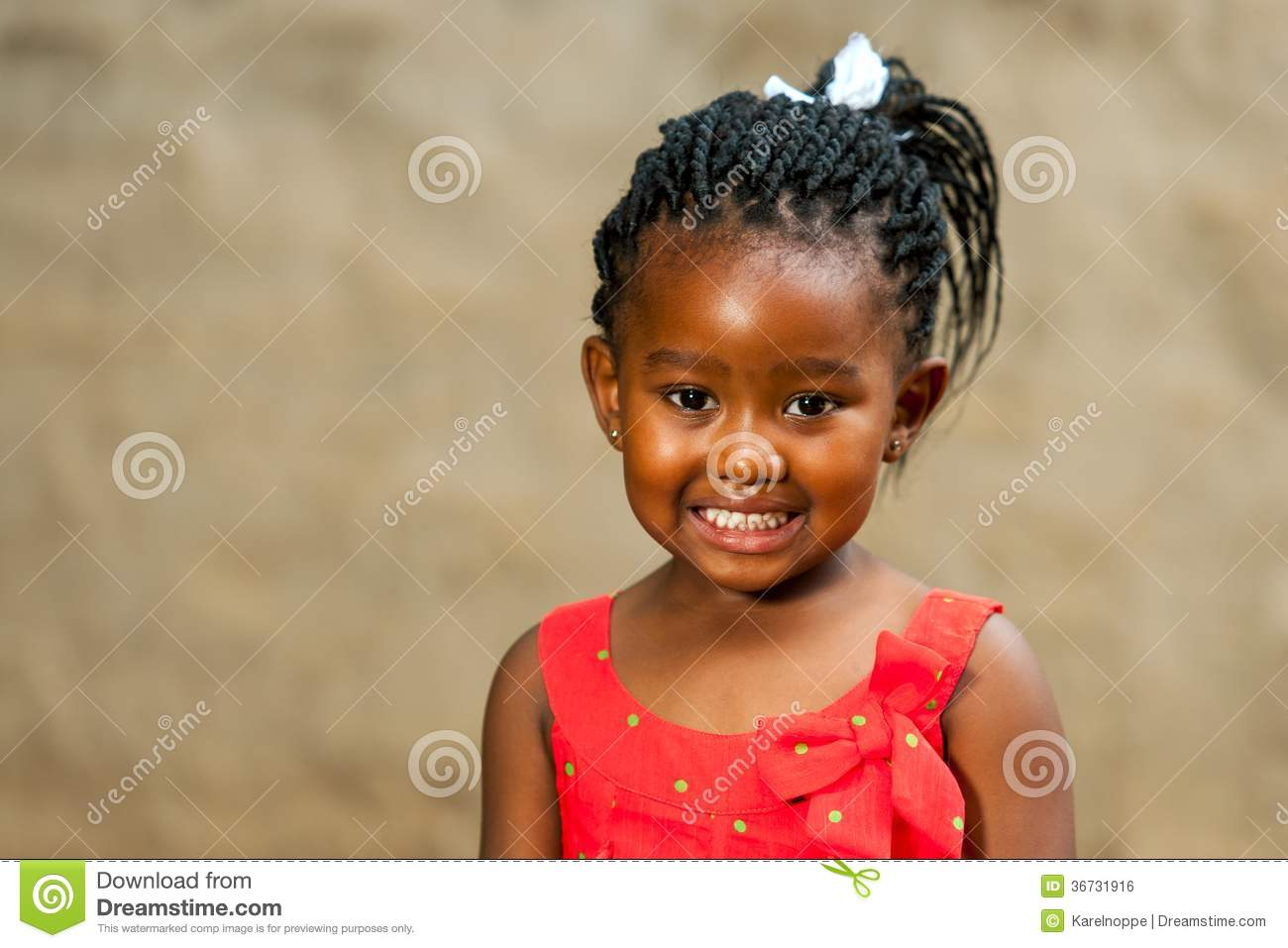 Little African Girl With Braided Hairstyle Royalty Free