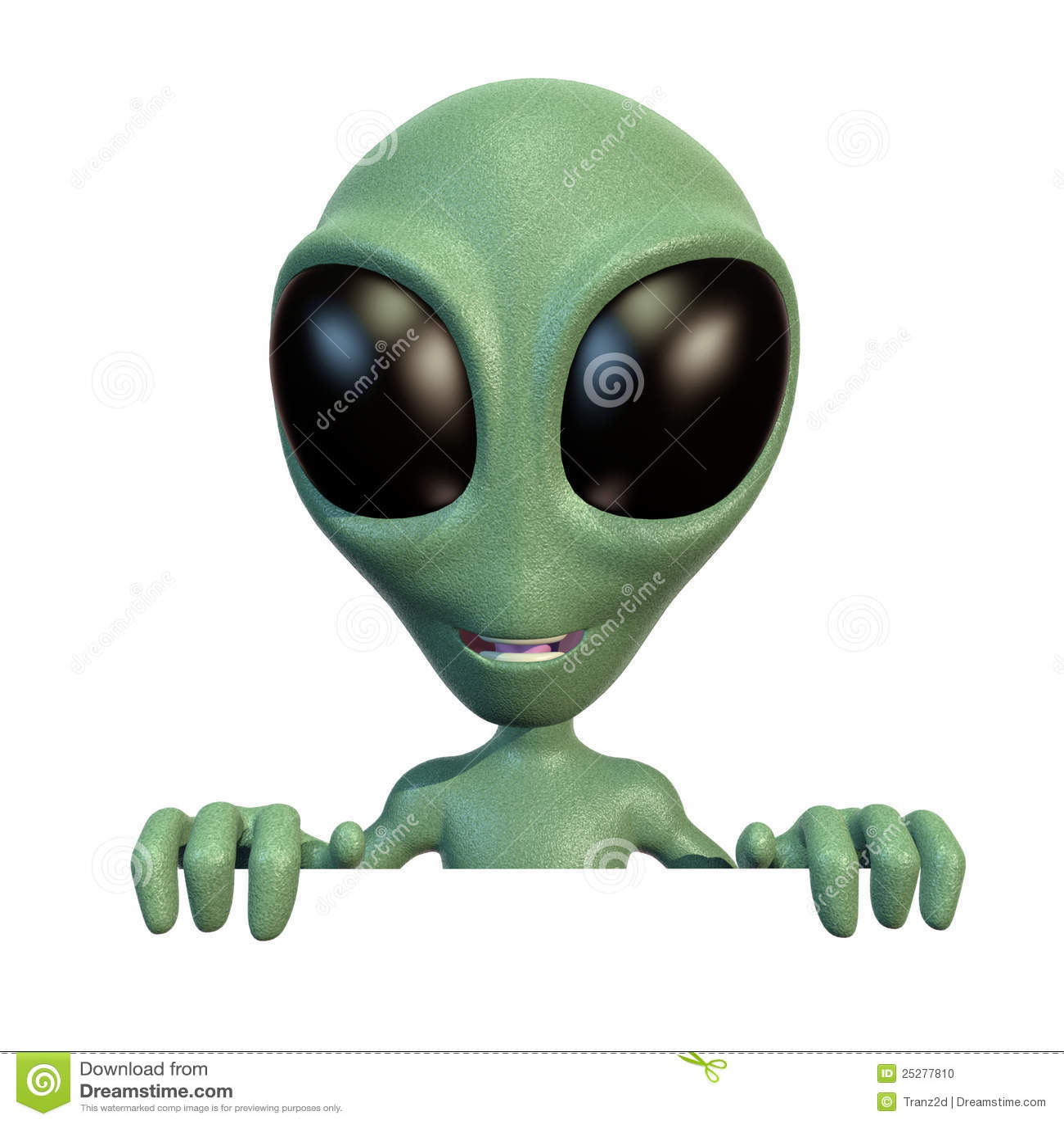 Little alien on top of blank sign
