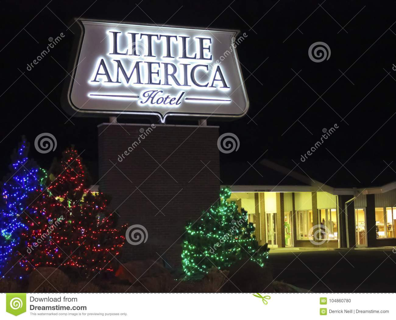 A Little America Hotel Flagstaff Sign At Christmas Editorial Image Image Of Glow Lights 104860780