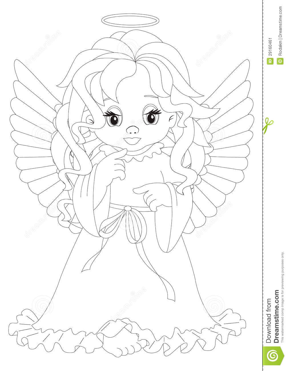 little angel coloring page stock image image 29160461