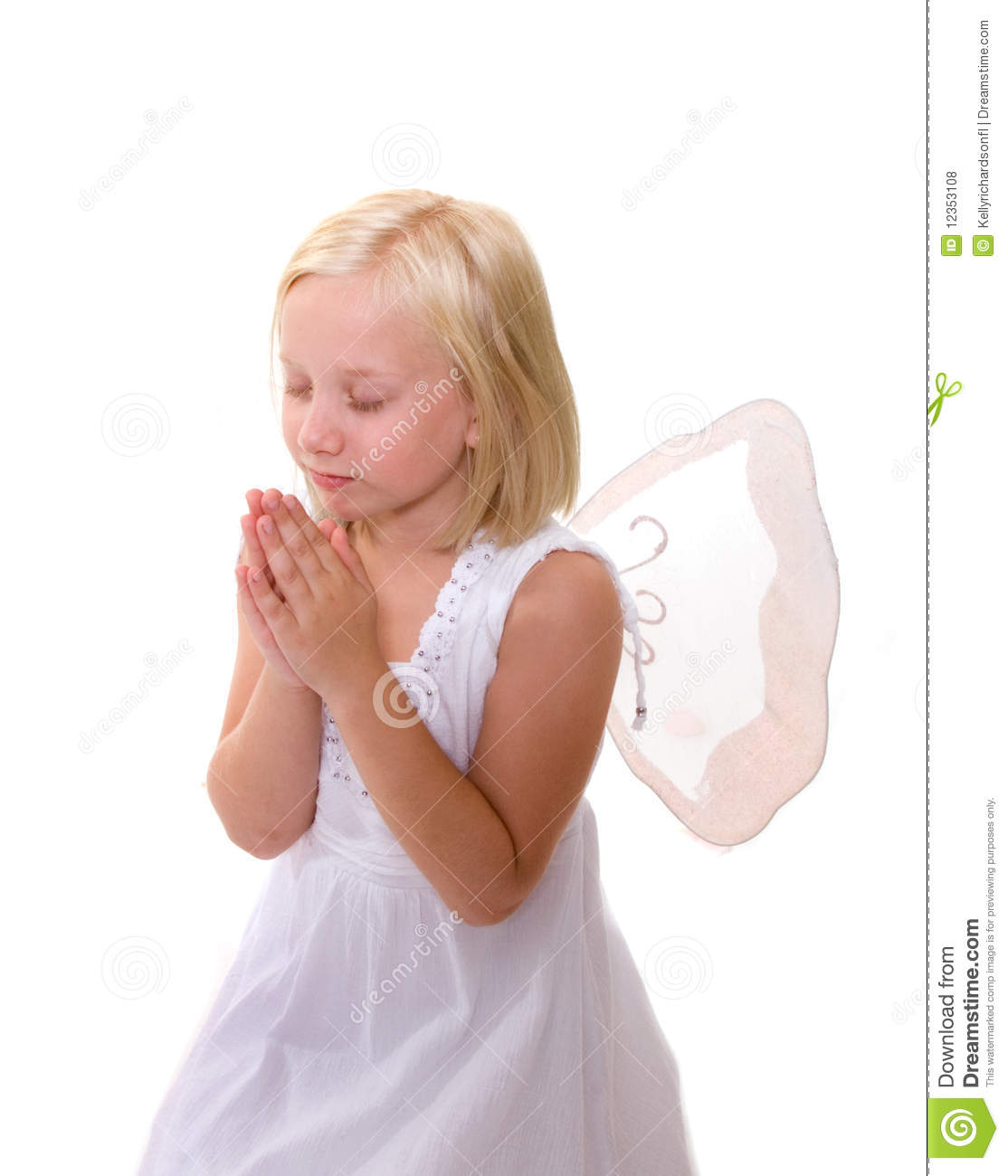Little angel girl praying wearing wings royalty free stock photos image 12353108 - Pics of small little girls ...