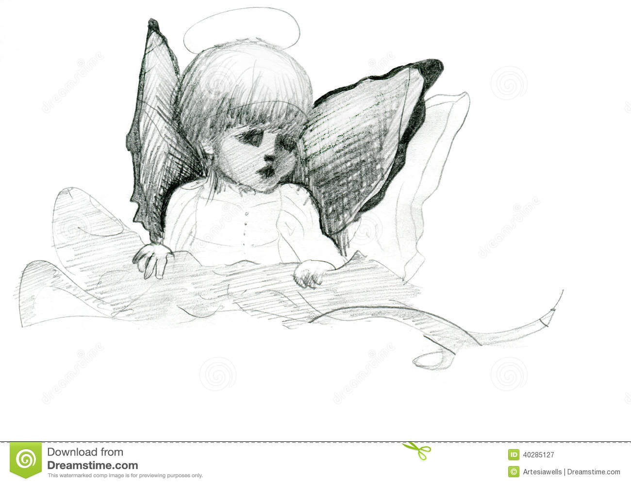 Little angel with wings and halo doodle pencil sketch