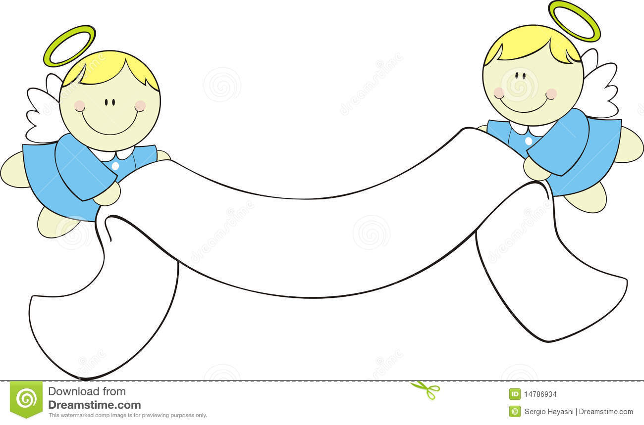 little angels with ribbon banner stock vector illustration of baptism  cartoon 14786934 Free Angel Clip Art Borders Transparent Free Clip Art Borders and Frames