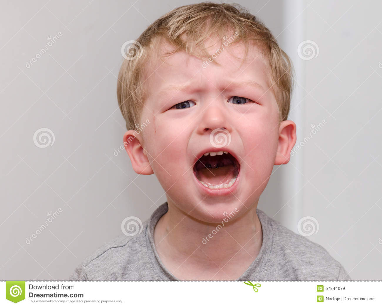 the little angry crying blond boy closeup stock image image of