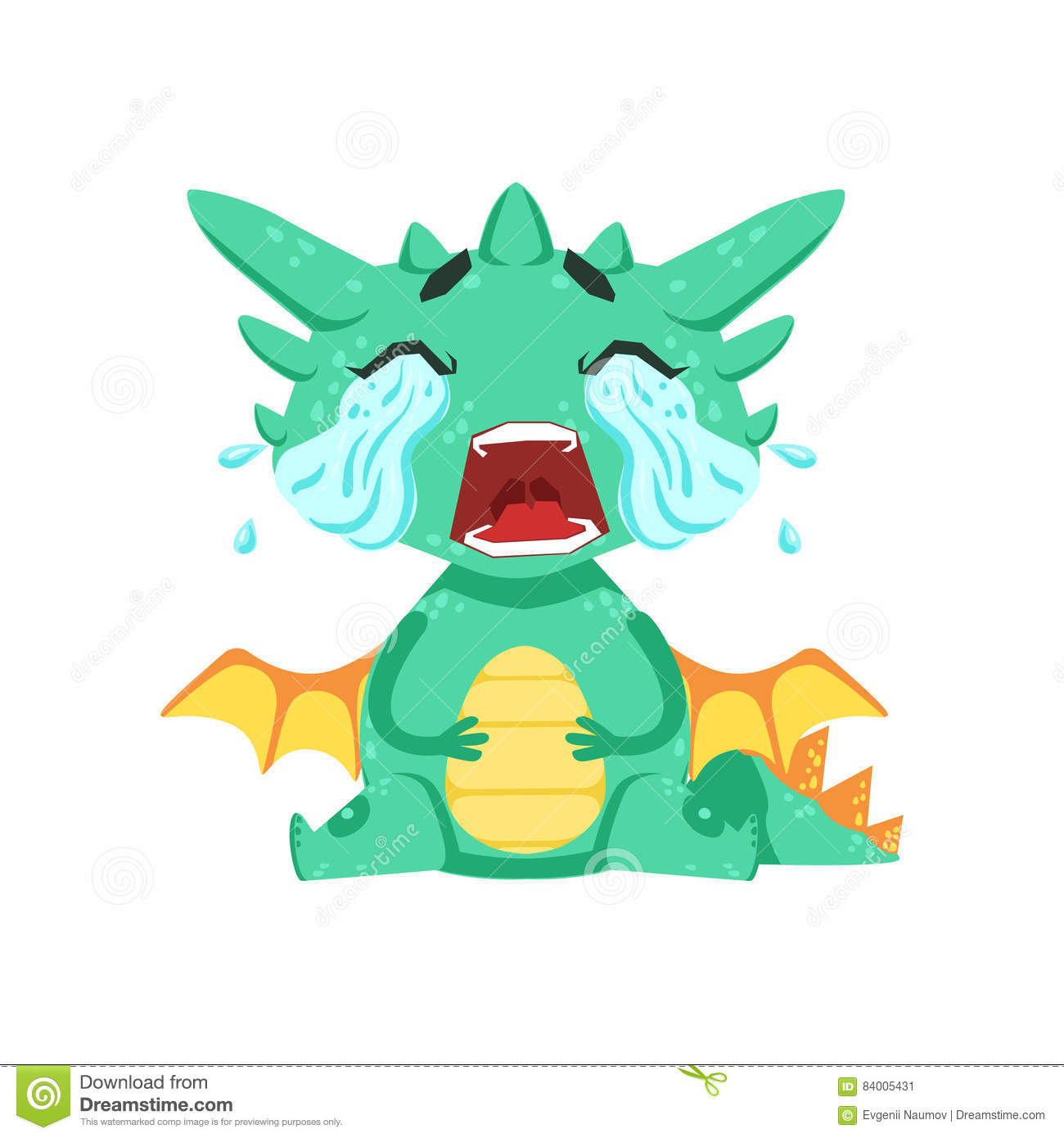 Little Anime Style Baby Dragon Crying Out Loud With Streams Of Tears Cartoon Character Emoji Illustration