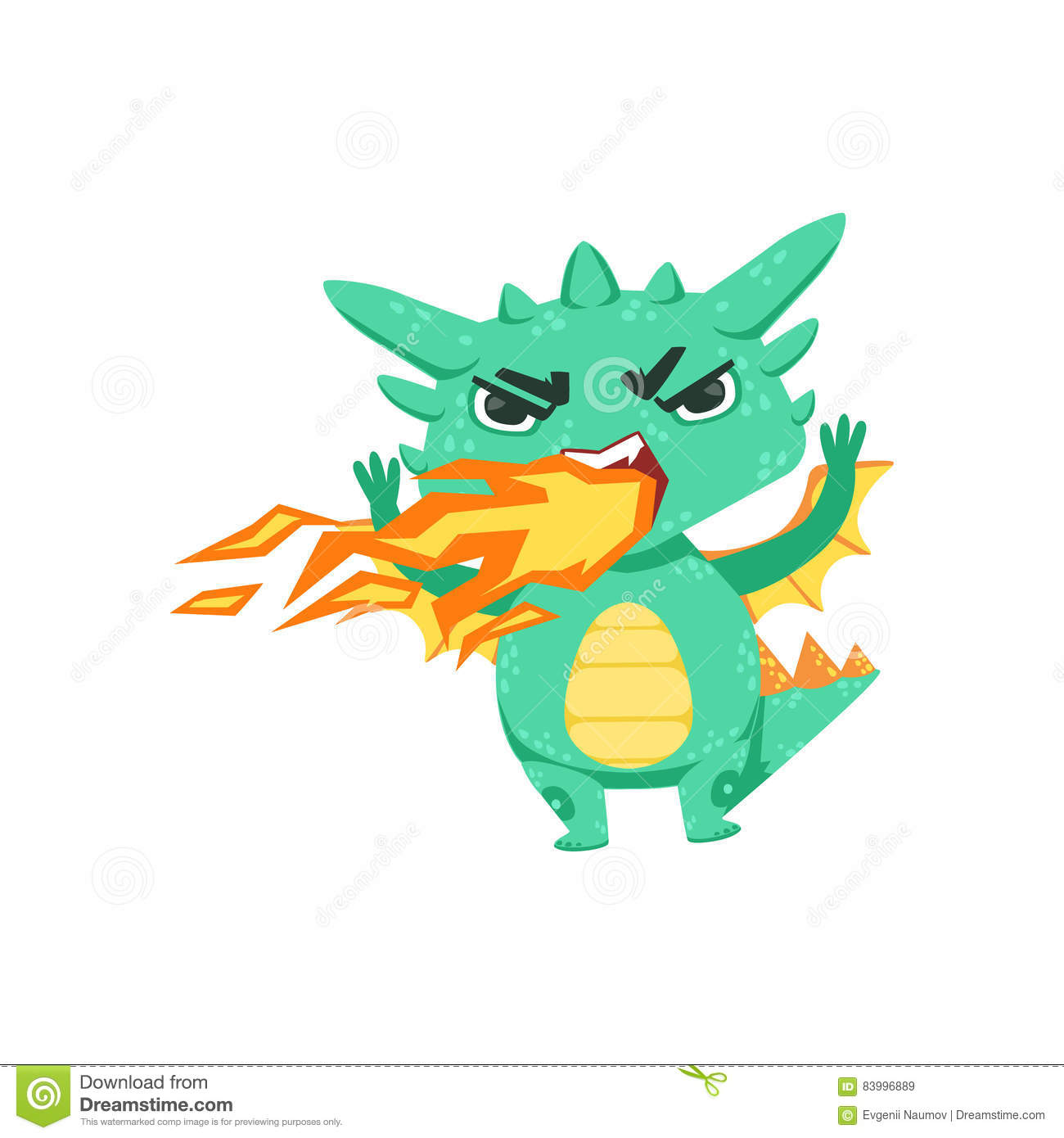 Little Anime Style Baby Dragon Off Breathing Fire Cartoon Character Emoji Illustration Stock Vector Illustration Of Dragon Breathing 83996889
