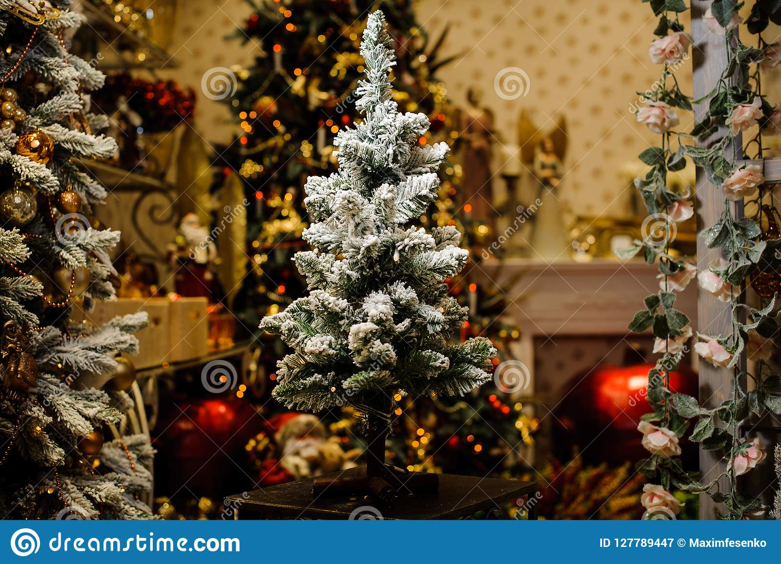 Little Artificial Christmas Tree Decorated With Artificial