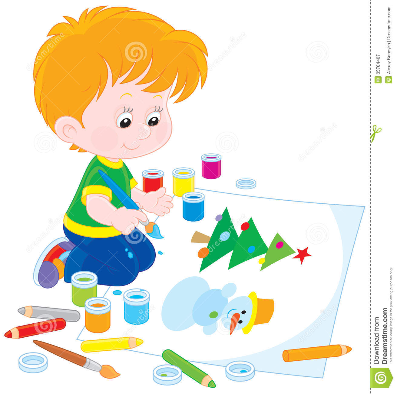 Little boy drawing a picture with a funny snowman and Christmas tree.