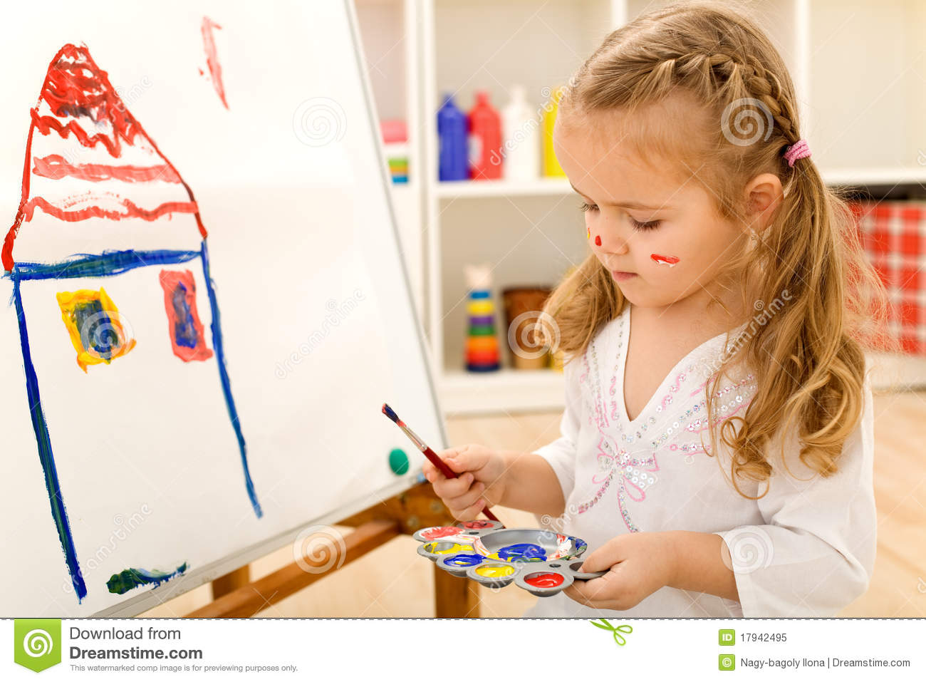 Little Artist Girl Painting On Large Paper Canvas Stock