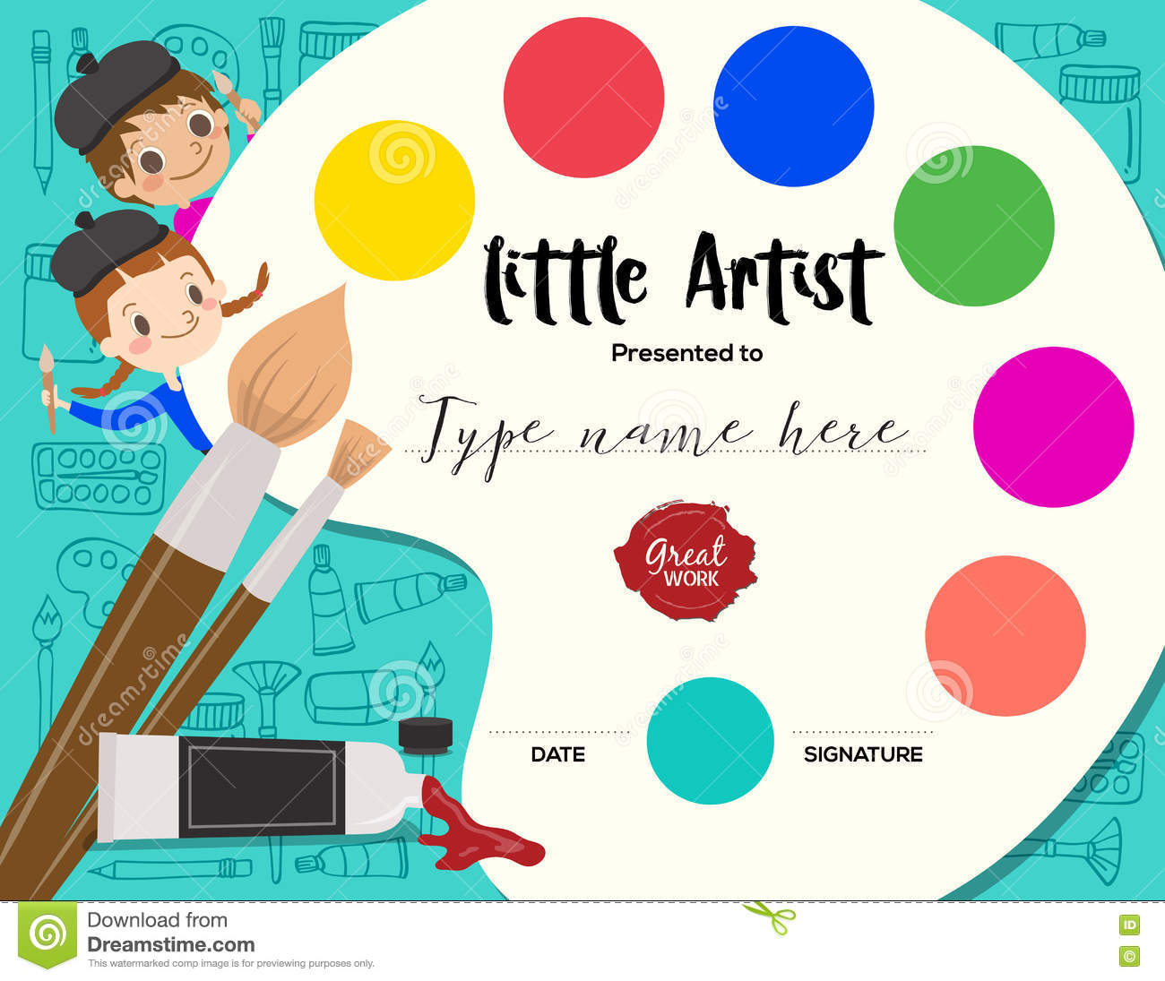 little artist kids diploma painting course certificate template