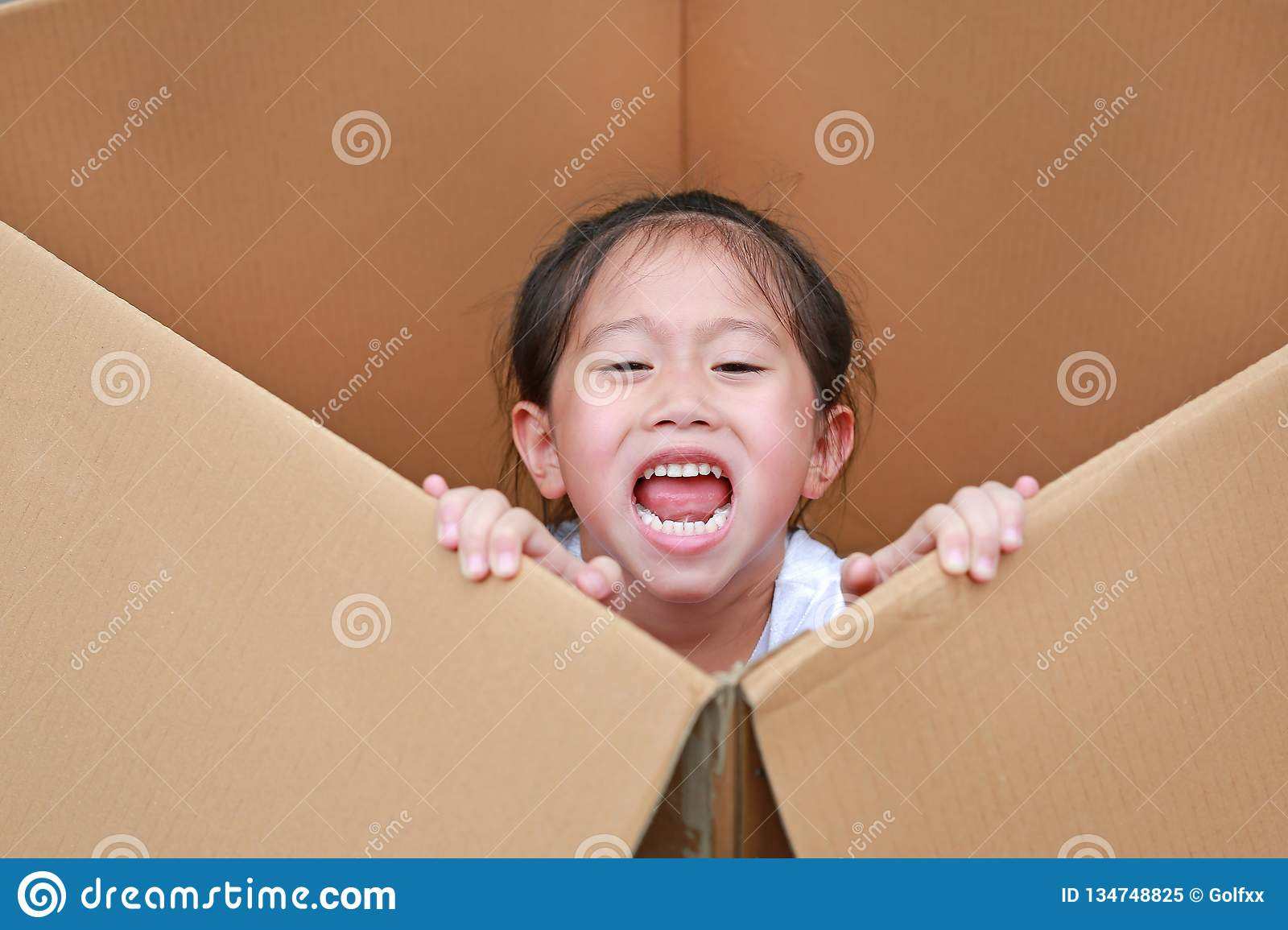 Little Asian child girl playing peekaboo and lie in big cardboard box