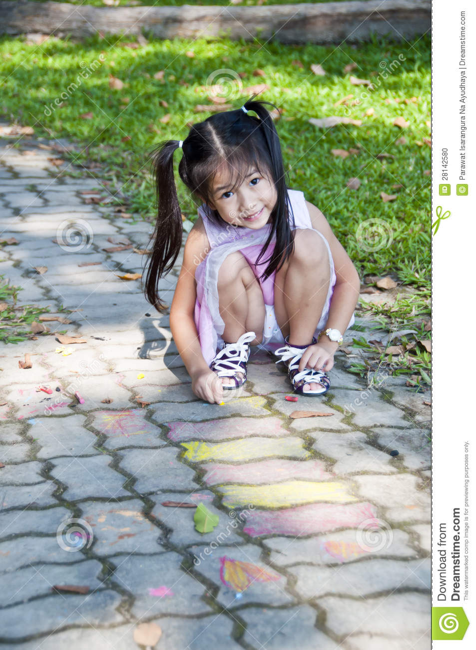 little asian girl drawing on footpath stock photo image 28142580