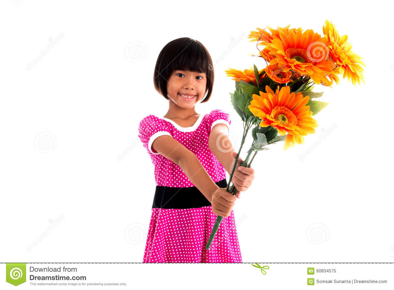 girl Asian com flower