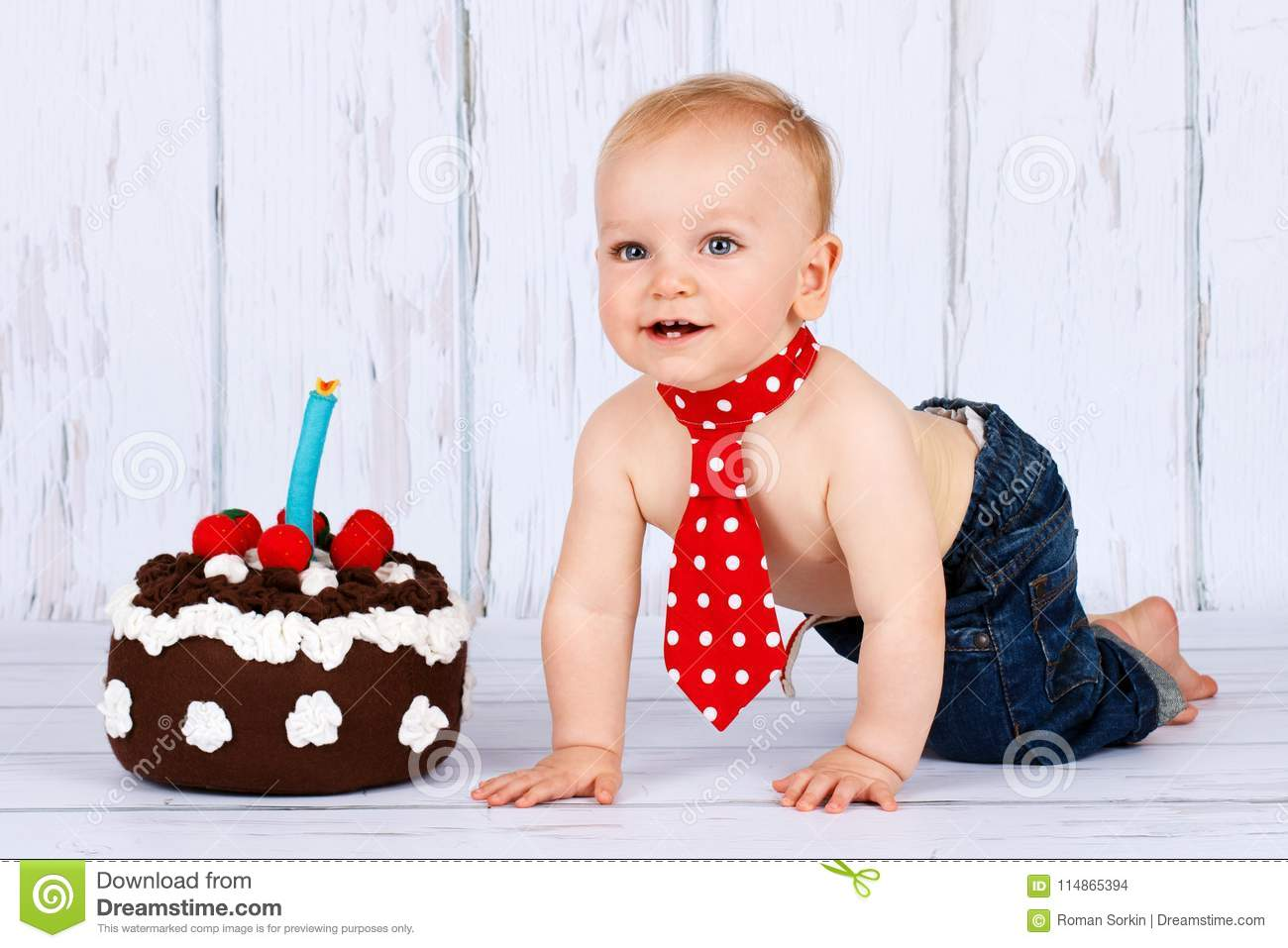 Magnificent Little Baby Boy With Birthday Cake Stock Photo Image Of Birthday Cards Printable Nowaargucafe Filternl