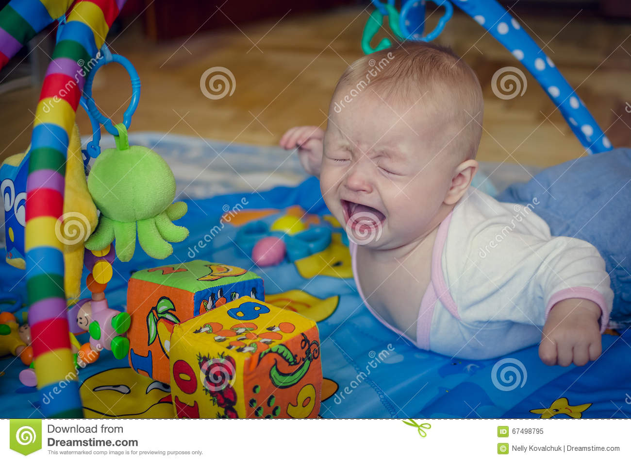 Little Baby Boy Crying Stock Image