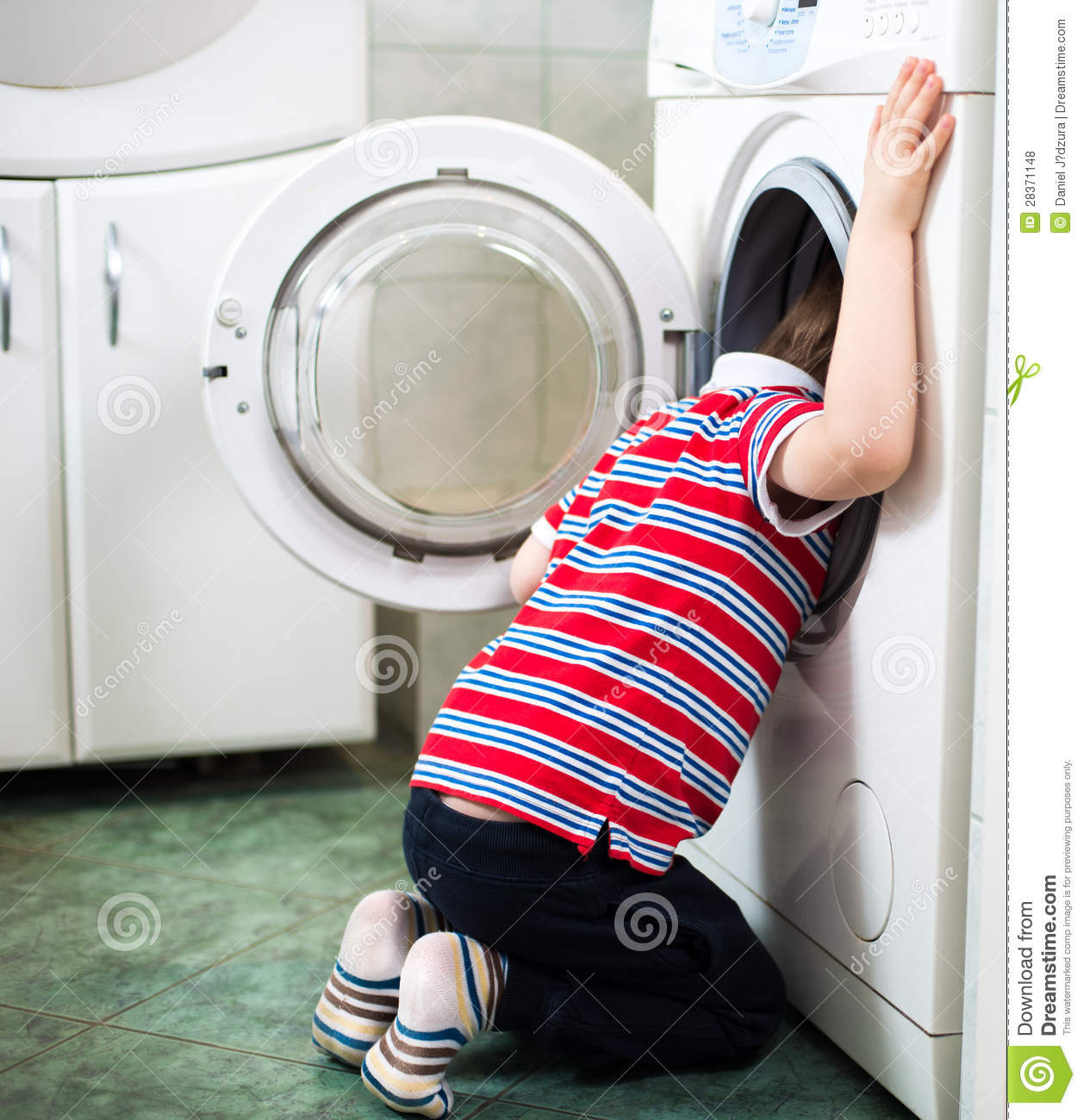 Little Baby Boy Dangerously Putting His Head Into Washing