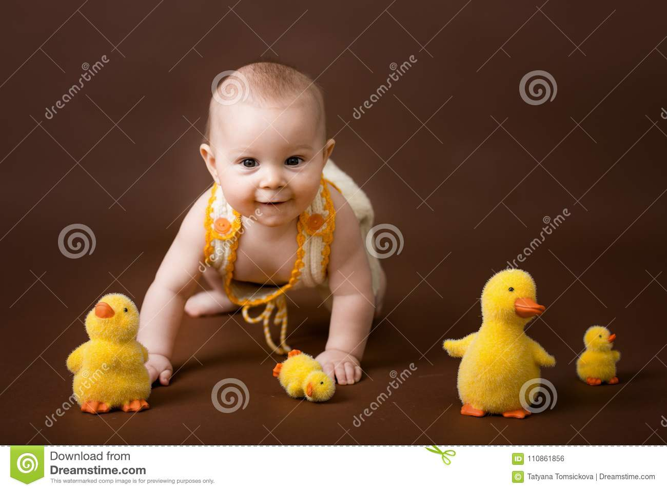 Little Baby Boy, Playing With Decorative Ducks, Isolated On Brow ...