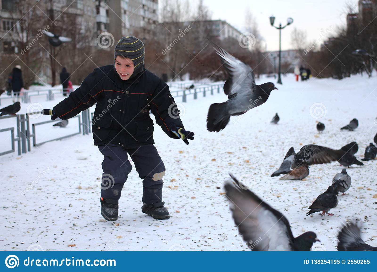 Little baby boy rides in the Park of birds pigeons in winter laughs fun emotions