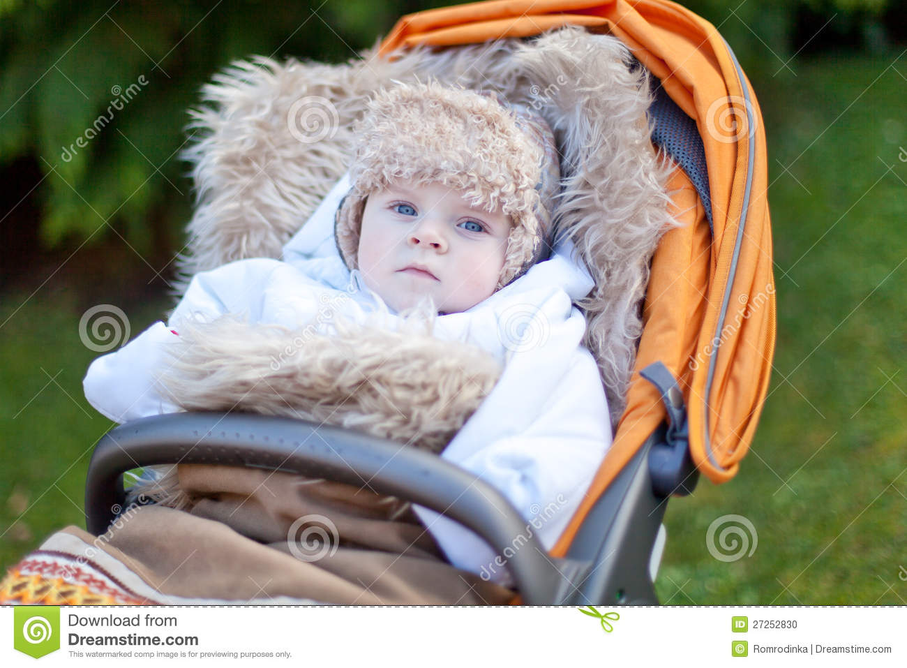 Little Baby Boy In Warm Winter Clothes Outdoor Stock