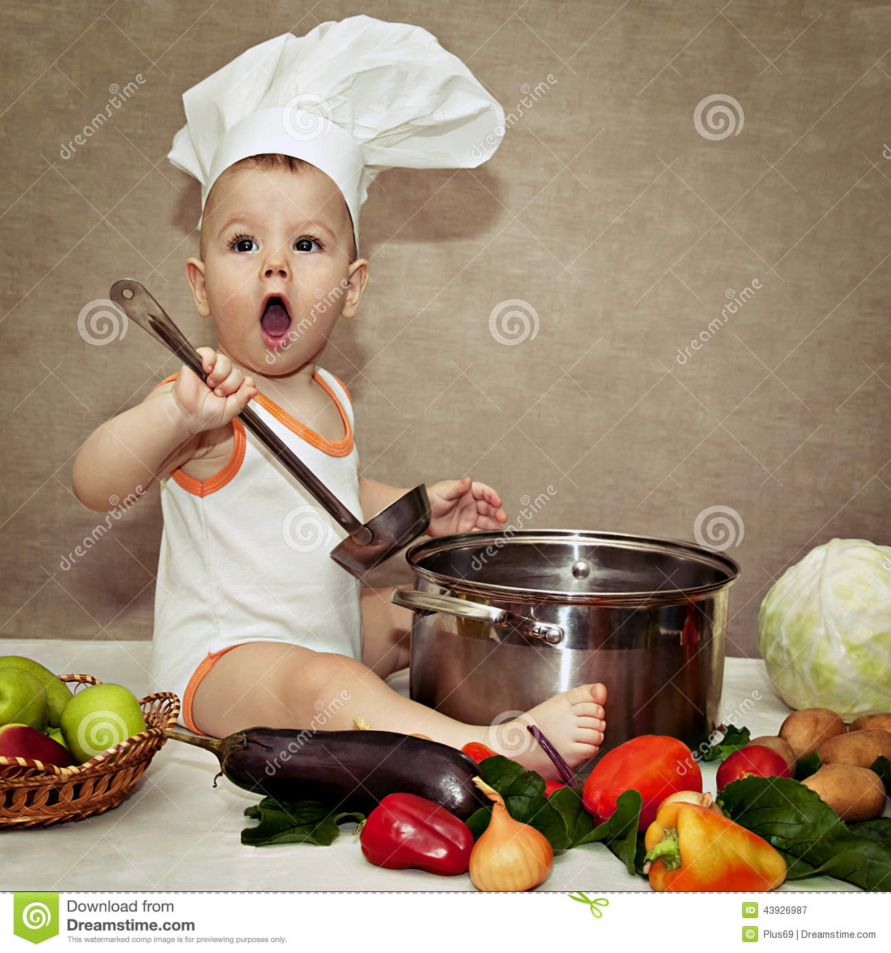 de349fc091d Little Baby In A Chef s Hat And Ladle In Hand Stock Image - Image of ...