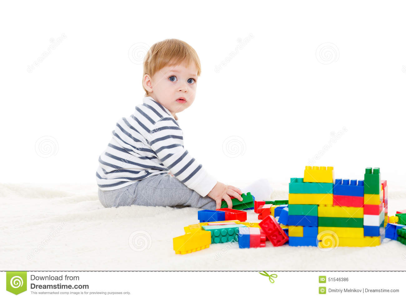 Learning And Development Toys : Little baby with educational toys stock photo image