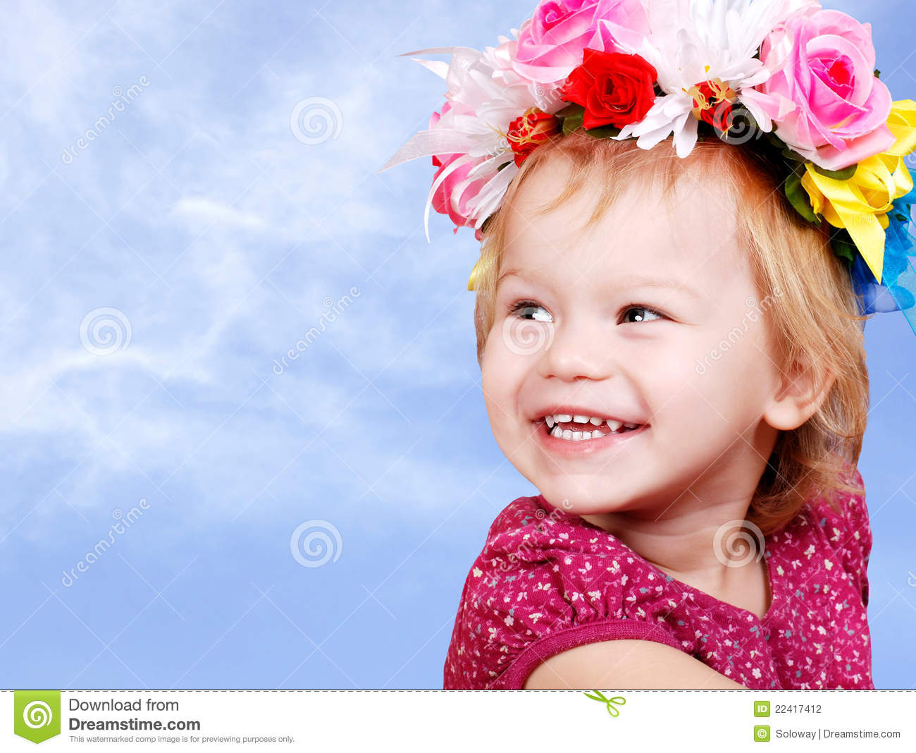 Little Baby Girl In Flower Crown Stock Photography - Image ...