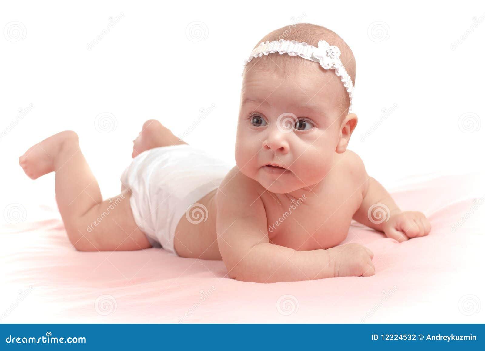 Little Baby Girl Lying Down Isolated Stock Photo Image