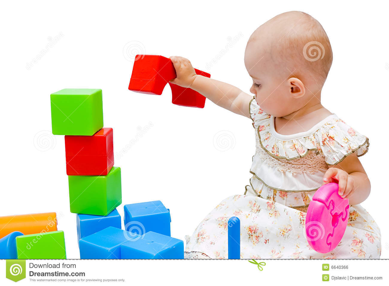 Little Girl Toys : Little baby girl playing with her toys royalty free stock