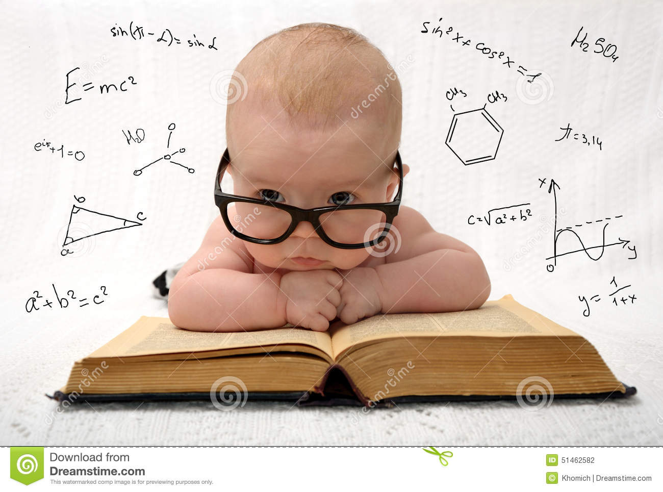 Little baby in glasses with eauations around