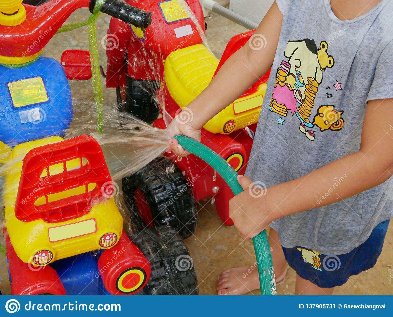 Little Baby S Hands Playing Water And Learning To Wash Plastic Big