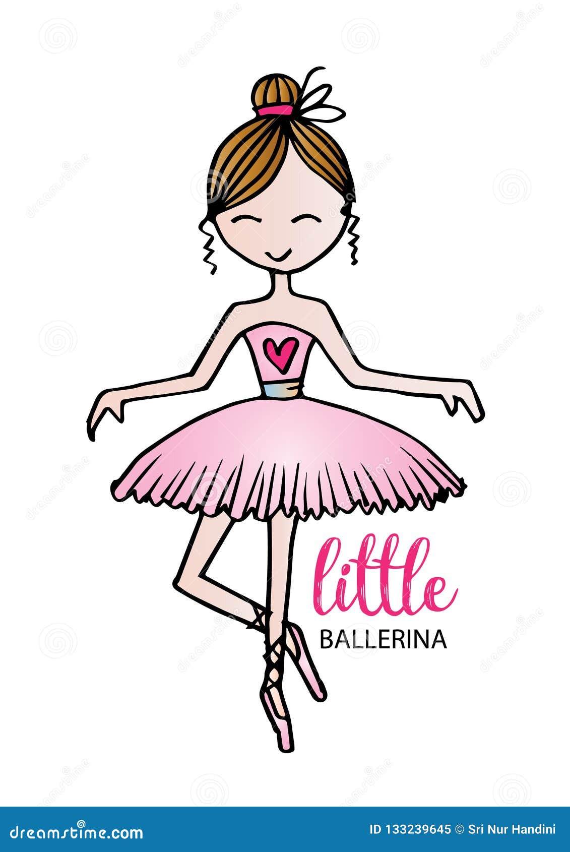 Little Ballerina Cute Cartoon Girl For Clothing Stock Vector Illustration Of Design Baby 133239645