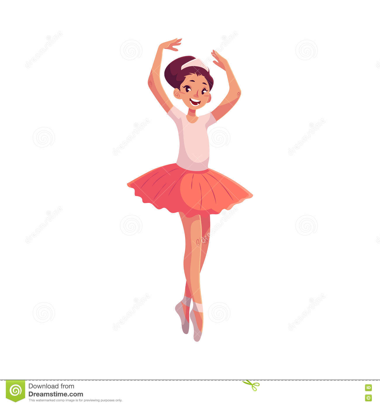 6f3bbacc4 Little Ballerina In Pink Tutu Standing On Toes Hands Up Stock Vector ...