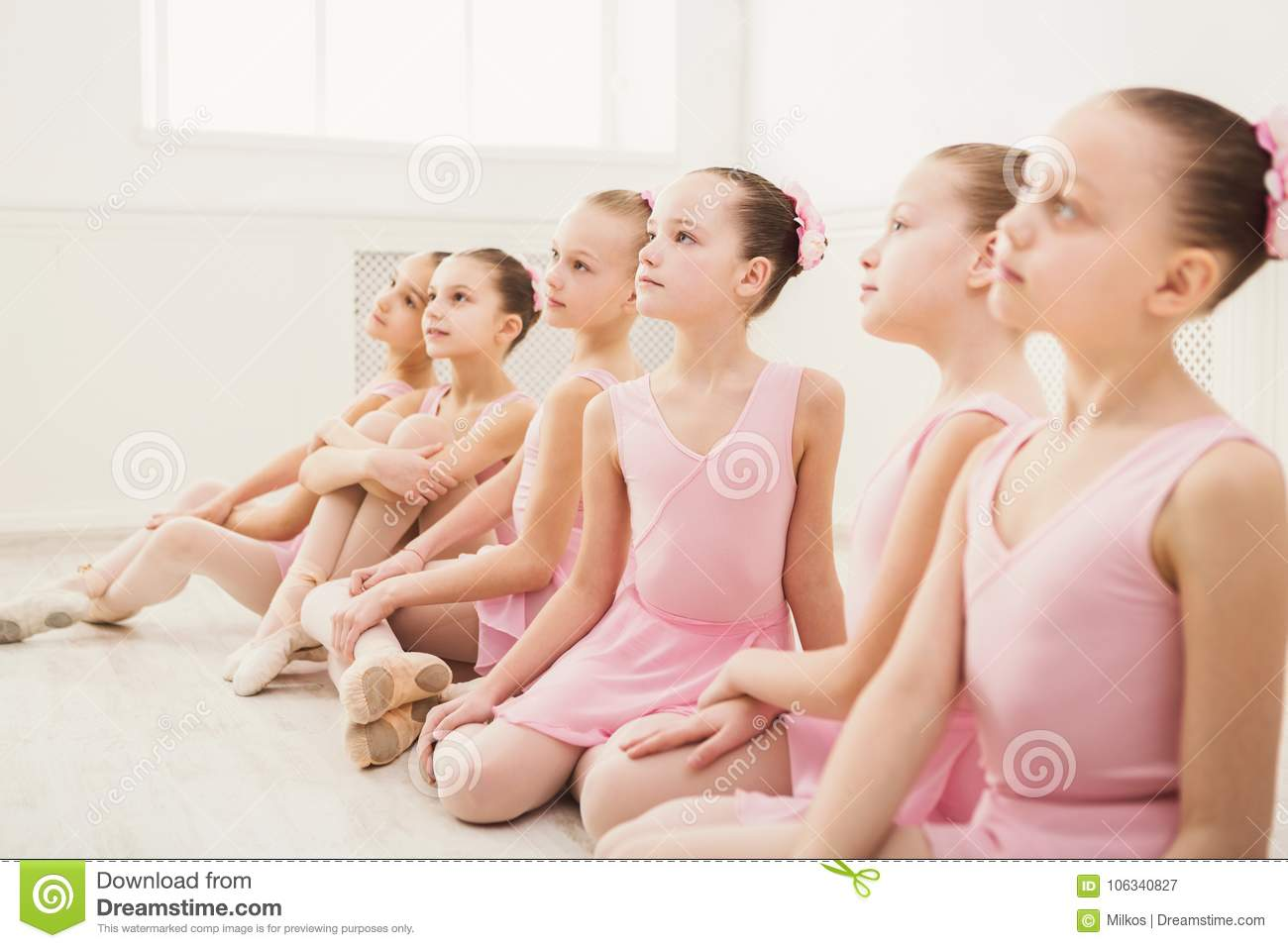 Little Ballerinas In Ballet Studio Stock Image - Image of