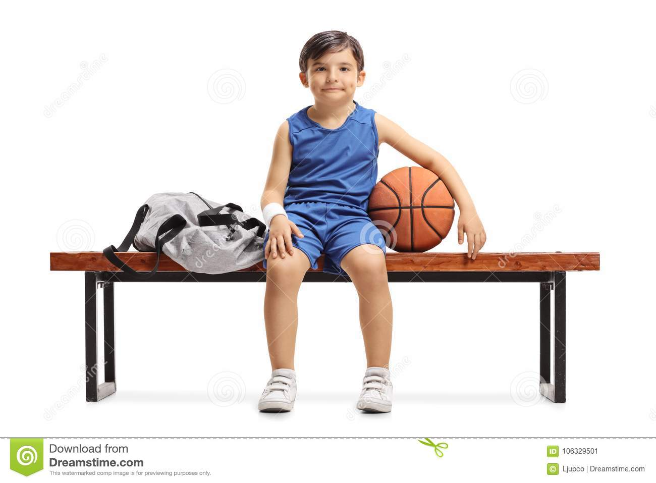 Marvelous Little Basketball Player Sitting On A Wooden Bench Next To A Machost Co Dining Chair Design Ideas Machostcouk
