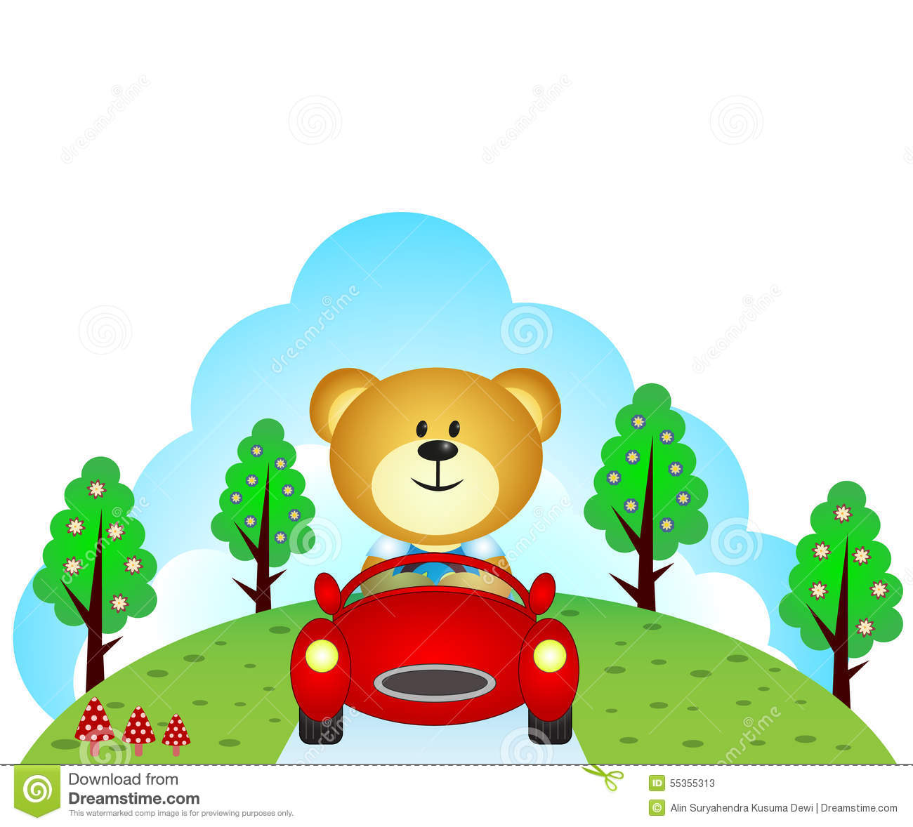 Colour a car - Little Bear Driving A Car