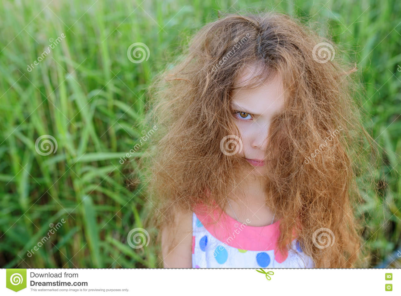 Little Beautiful Girl With Curly Hair Stock Image - Image of ...