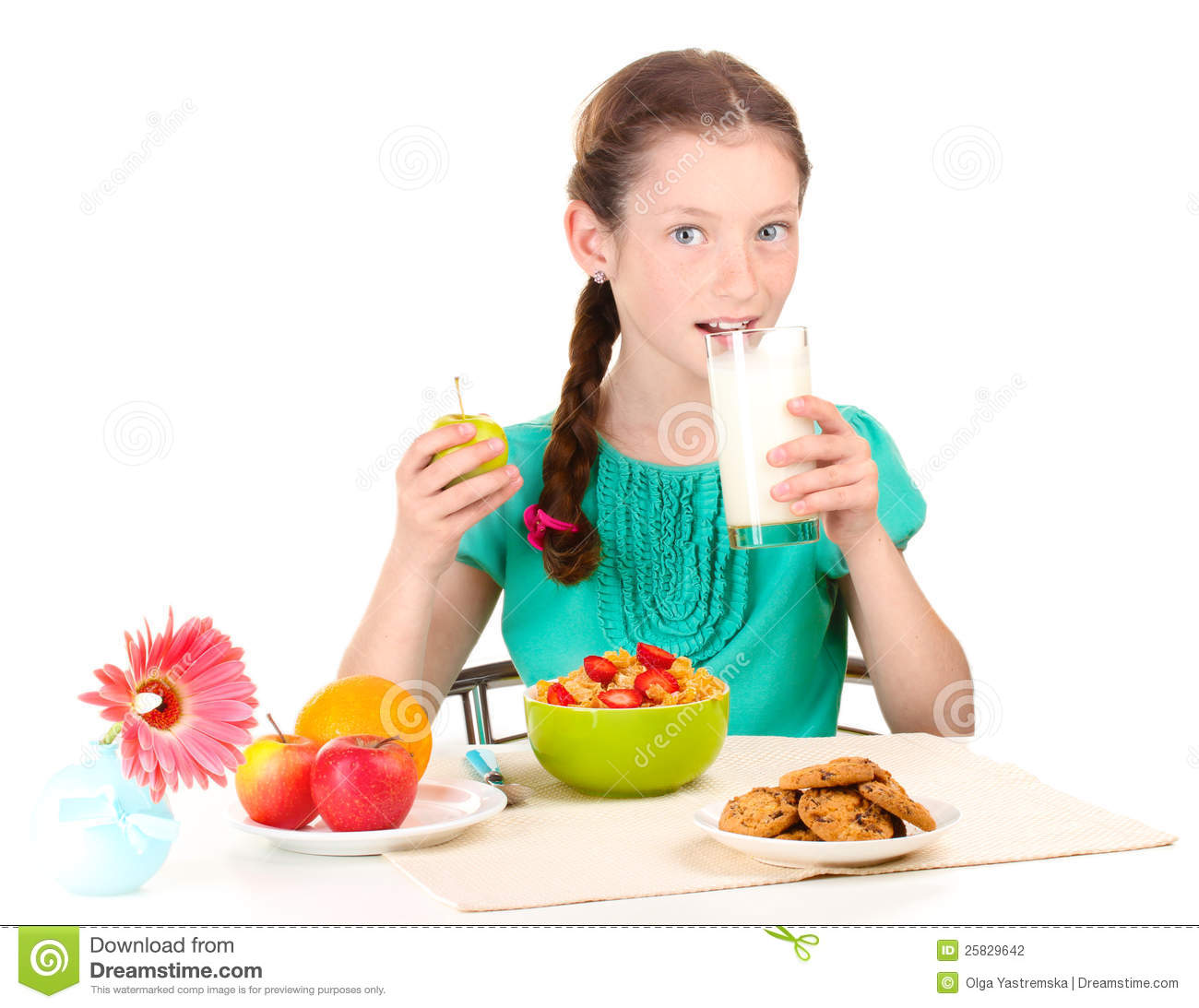 Little Beautiful Girl Have A Breakfast Stock Photography - Image ...