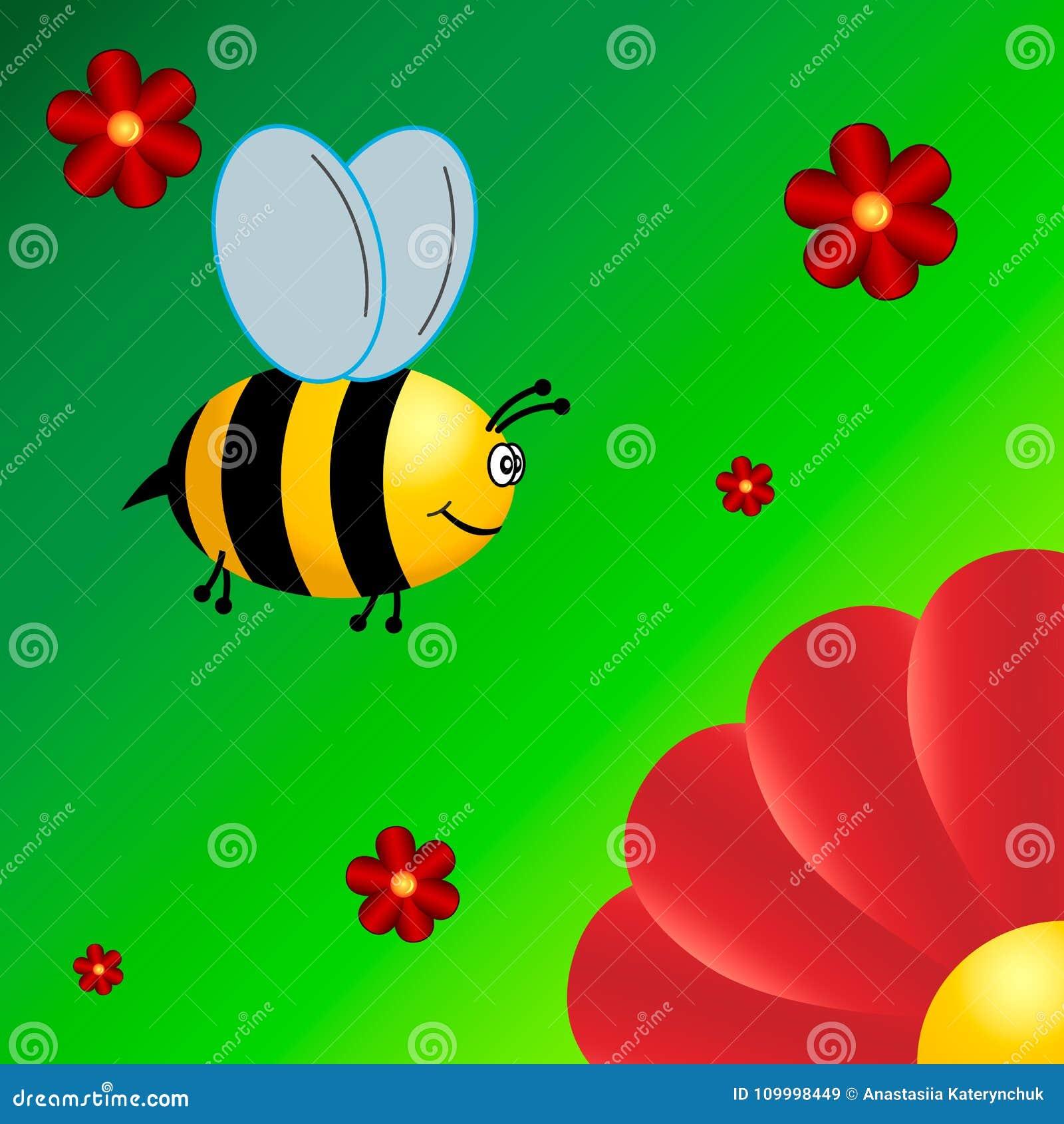 Little bee flies to the flower