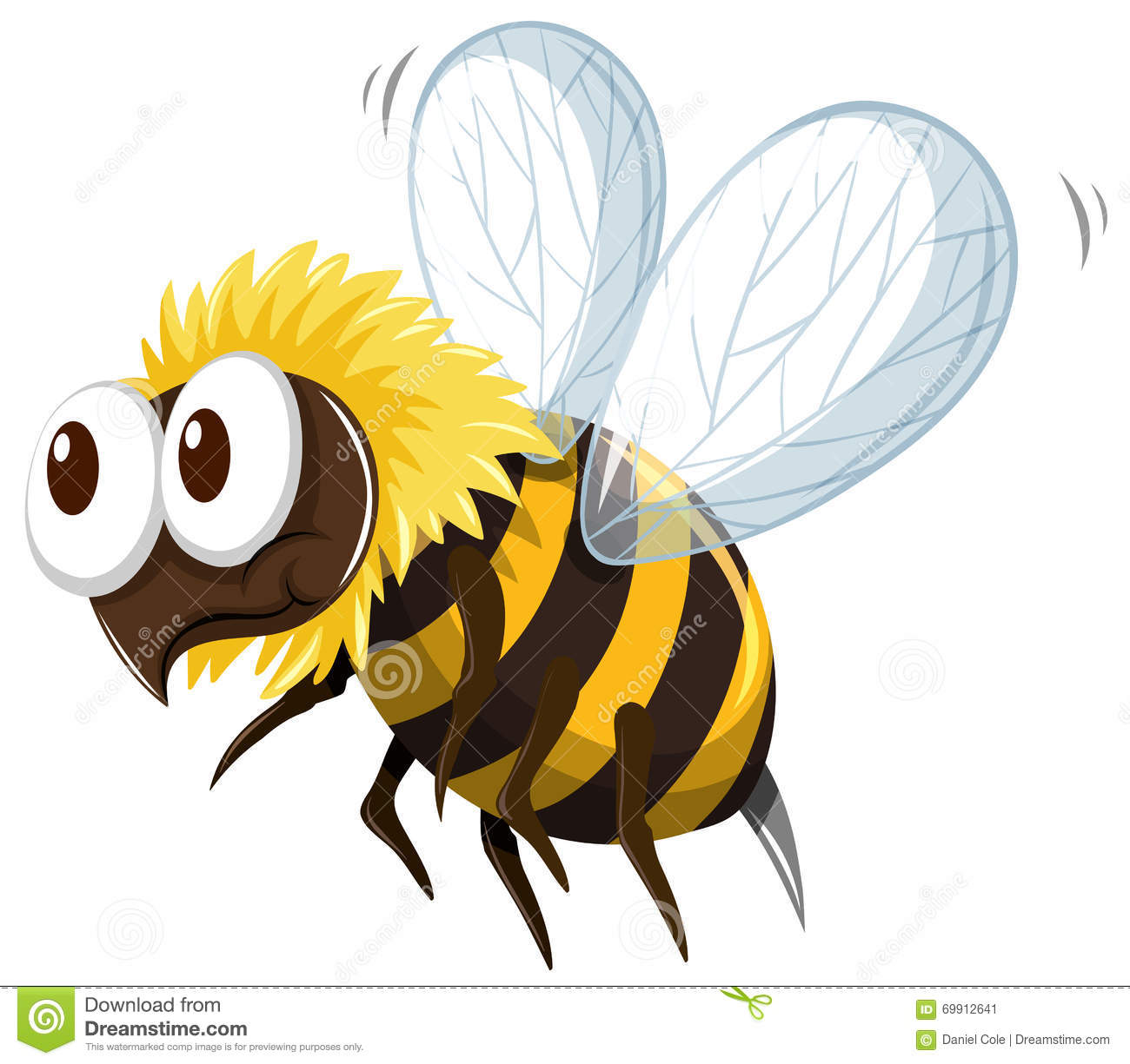 Little bee flying on white background