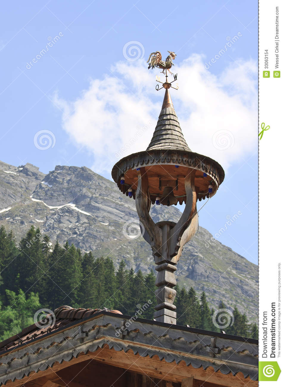 Little Bell Tower At Tyroler House Austria Stock Images