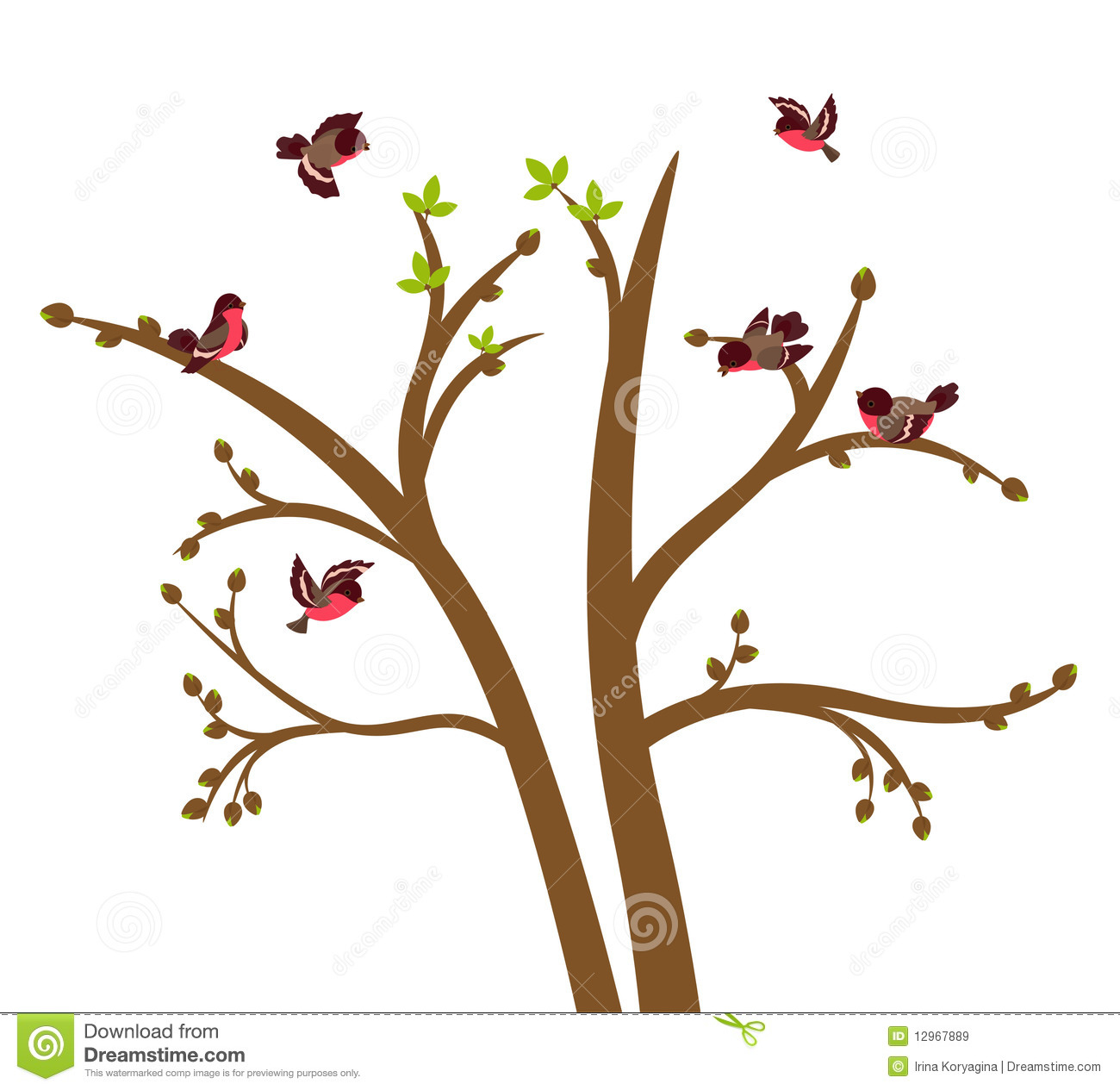 Little Birds Chirp On Spring Tree Royalty Free Stock Images - Image ...
